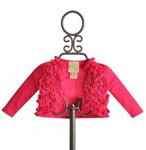 Lemon Loves Lime Ruffle Emma Cardigan in Fuchsia (Size 18-24Mos)