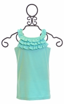 Lemon Loves Lime Tank Top with Ruffles in Blue