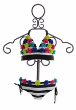 Limeapple Striped Bikini for Tweens with Colored Rosettes