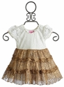 Lipstik Girls Baby Girls Lace and Gold Ruffle Dress