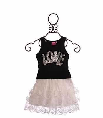 Lipstik Girls-Girls Tank and Skirt White Lace Love
