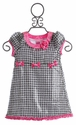 Lipstik Girls Little Girls Dress Pink Bows and Houndstooth