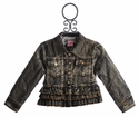 Lipstik Girls Rustic Brown Girls Ruffled Denim Jacket