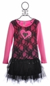 Lipstik Girls Tween Lace Top with Black Tutu Skirt