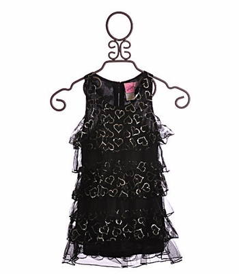 Lipstik Tween Tunic with Black Ruffles and Hearts