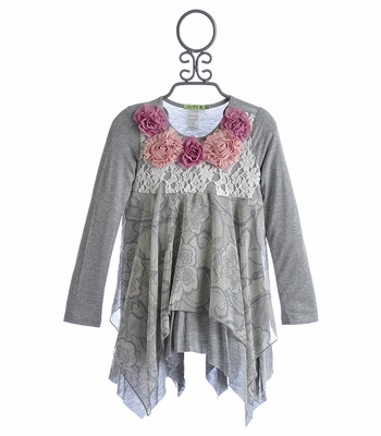 Little Mass Berry Mocha Girls Grey Tunic in Chiffon