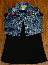 Little Mass Bling Vest with Black Dress for Girls