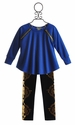 Little Mass Blue Zipper Top for Girls with Velvet Legging