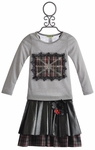 Little Mass British Flag Tee and Pleather Skirt for Girls