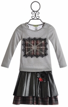 Little Mass British Flag Tee and Pleather Skirt for Girls (4 & 7)
