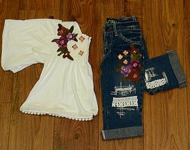 Little Mass Butterfly Top with Denim Pants
