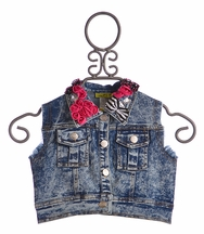 Little Mass Denim Vest for Little Girls Bowtastic (6,6X,8)