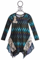 Little Mass Girls Blue Chevron Dress