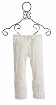Little Mass Girls Ivory Lace Leggings with Faux Fur (Size 12)