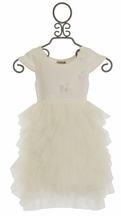 Little Mass Girls Ivory Ruffle Dress
