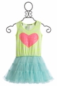 Little Mass Girls Lime Light Sequin Heart Dress