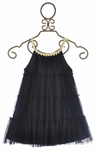 Little Mass Girls Mesh Dress in Navy Four Tier