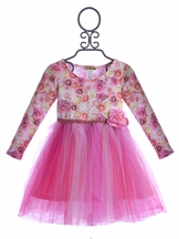 Little Mass Girls Party Dress Rosy Tulle (Size 4)