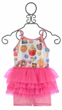 Little Mass Girls Tutu Short Set Dessert Love
