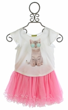 Little Mass Graphic Tee with Tutu Skirt for Girls (2T,3T,5)