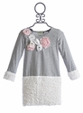Little Mass Grey Girls Dress with Faux Fur Trim