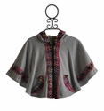 Little Mass Grey Zippered Poncho for Girls