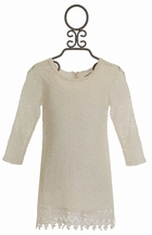 Little Mass Ivory Lace Dress with Beaded Neckline (Size 7)