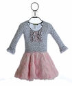 Little Mass Little Girls Leopard Dress with Faux Fur Skirt