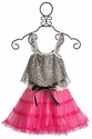 Little Mass Meow Pink Leopard Girls Party Dress