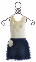 Little Mass Mont Blanc Tank and Ruffle Skirt in Navy (Size 6 & 7)