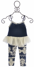 Little Mass Mont Blanc Tunic Pant Set with Lace Accent (3T & 8)