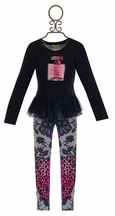 Little Mass Navy Tunic with Leopard Legging (3T & 4T)