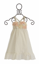 Little Mass Pale Crystal Empire Waist Dress with Jewel Straps