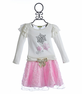 Little Mass Pink Flowers Girls Tutu & Top Set