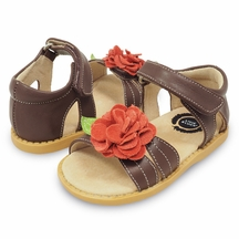 Livie and Luca Brown Sandals with Flower PREORDER