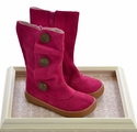 Livie and Luca Girls Designer Boots in Fuchsia with Buttons