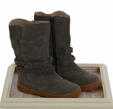 Livie and Luca Girls Leather Boots in Gray Suede (Size 4Infant)