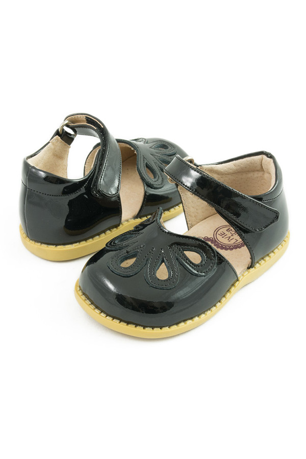 Livie and Luca Girls Petal Shoes in Black Leather