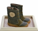 Livie and Luca Leather Boots for Little Girls in Olive