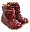 Livie and Luca Patent Flouret Boots for Girls Burgundy