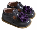Livie & Luca Gray Little Girls Shoes with Blossom