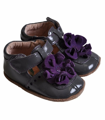 Livie & Luca Gray Patent Infant Blossom Shoes