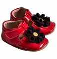 Livie & Luca Red Baby Girls Shoe with Blossom
