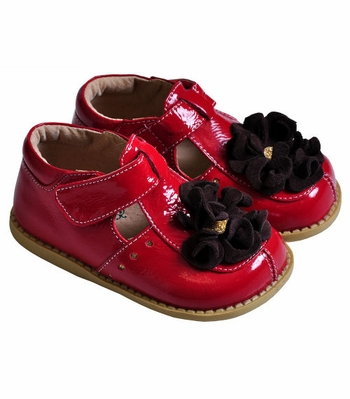 Livie & Luca Red Leather Shoes for Girls with Blossom