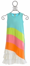 Lollipop Twirl Sunshine Rainbow Dress with Ruffles (4,5,7)
