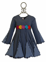 Love U Lots Girls Flower Dress Striped Navy