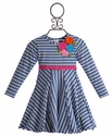 Love U Lots Girls Navy Striped Dress with Flowers