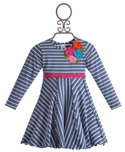 Love U Lots Girls Navy Striped Dress with Flowers (Size 6X)