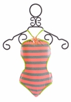 Love U Lots Girls Striped Bathing Suit with Side Cutout