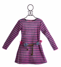 Love U Lots Girls Striped Dress in Fuchsia and Navy